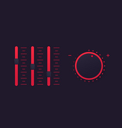 slider bar and control knob regulator vector image