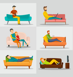 sofa chair couch banner concept set flat style vector image