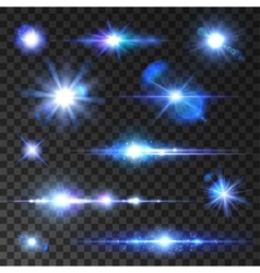 Stars set Icons of twinkling star shining rays vector image