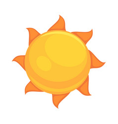 summer yellow sun with rounded orange rays vector image