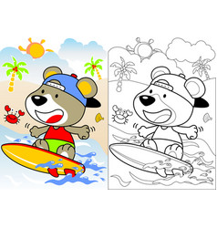 Surfing time with little bear cartoon vector