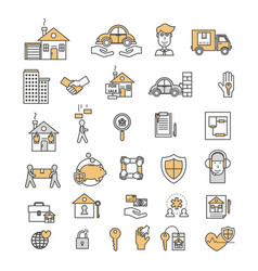 Thin line art flat style insurance icon set vector