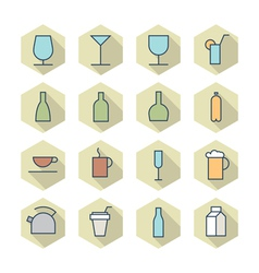 Thin Line Icons For Drinks vector image