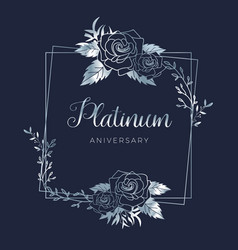 Wedding platinum floral anniversary vector