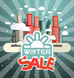 Winter Sale with City Clouds and Sun vector image