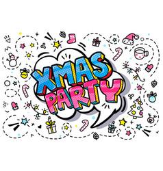 xmas party word bubble vector image