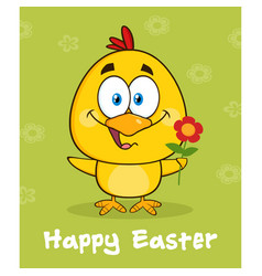 yellow chick character with happy easter text vector image