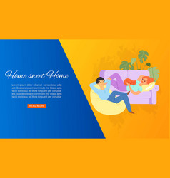 young couple at home man and woman sit on cosy vector image