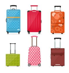 cartoon travel suitcase color set vector image