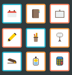 flat icons calculate identification highlighter vector image