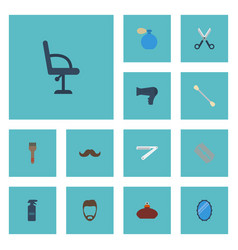 Flat icons hairspray cotton buds hairstyle and vector