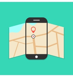 smartphone with opened map isolated on green vector image