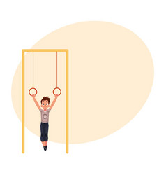 teenage caucasian boy hanging on gymnastic rings vector image vector image