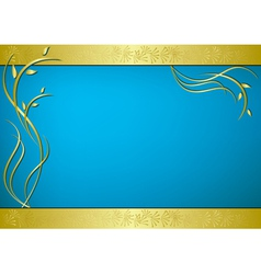 golden and blue card with flora vector image vector image