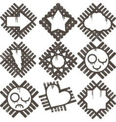 set of grunge icon vector image vector image