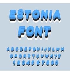 Estonia font Estonian flag on letters National vector image vector image