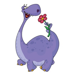 dinosaur and flower vector image vector image