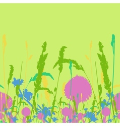 Frame on the seamless meadow flowers and ears vector image vector image