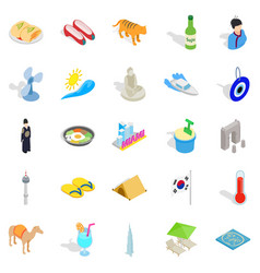 Hospice icons set isometric style vector