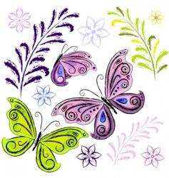 set butterflies and butterflies vector image vector image