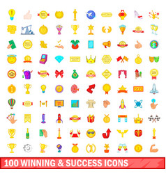 100 winning and success icons set cartoon style vector