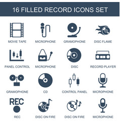 16 record icons vector
