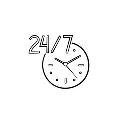 24-7 open service hand drawn outline doodle icon vector