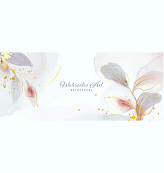 Abstract background watercolor gentle gold leaves vector