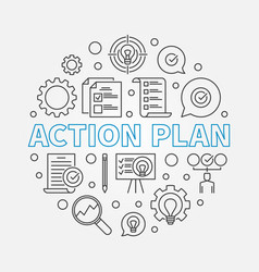action plan round in thin line vector image