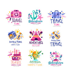 Adventure travel happy time logo design set vector