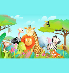 African exotic animals for kids in wild nature vector