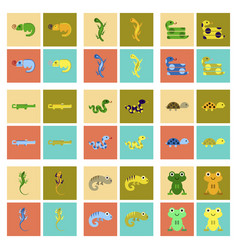 assembly flat icons exotic wild reptiles vector image