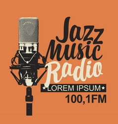 banner for jazz music radio with studio microphone vector image