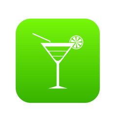 beach cocktail icon digital green vector image