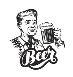 Beer or pub Happy smiling man with mug of fresh vector