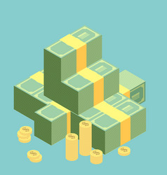 big stacked pile of cash hundreds of dollars flat vector image