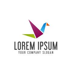 bird origami logo design concept template vector image