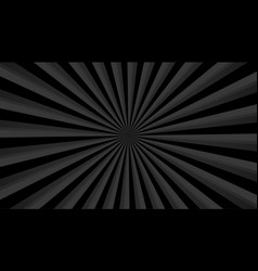 Black background with sunburst rays zoom effect vector
