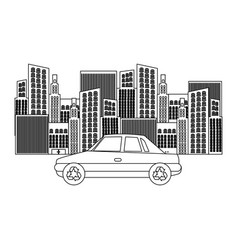 black silhouette of city buildings and car vector image