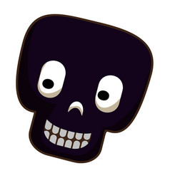 black skull icon cartoon style vector image