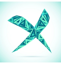 Blue abstract triangles isolated cross mark vector image