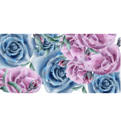 blue roses watercolor banner beautiful vector image