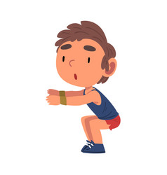 Boy doing squats exercise schoolboy daily routine vector