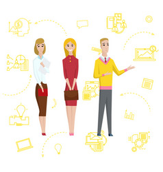 business man standing pointing businesswomen vector image