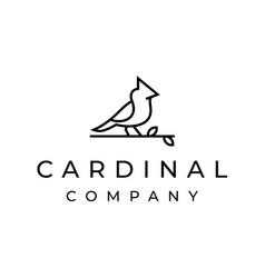 cardinal bird logo design with line outline vector image