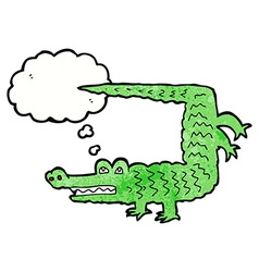 cartoon crocodile with thought bubble vector image