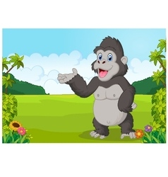 Cartoon gorilla waving vector image