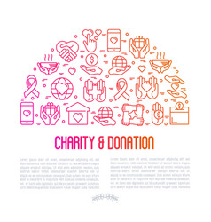Charity and donation concept in half circle vector