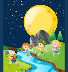 Children running in the park at night vector