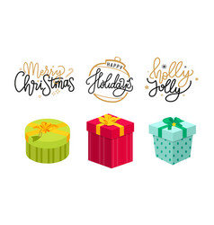 christmas holly jolly holidays lettering postcards vector image